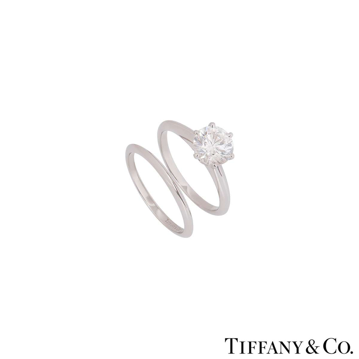 Tiffany & Co. Platinum Diamond Ring 1.71ct I/VVS1 With Plain Wedding Band